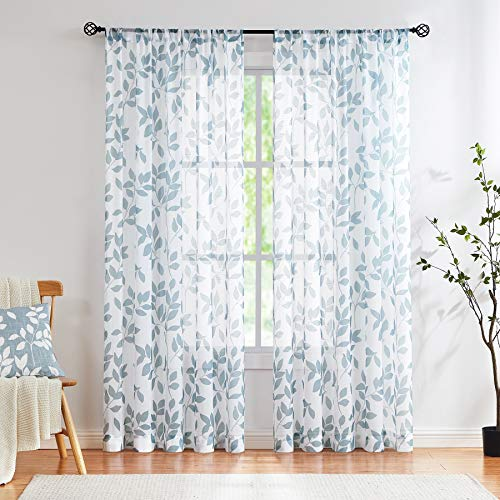"""Blue White Sheer Curtains 84"""" Long Living Room Leaf Printed Linen Textured Semi Sheer Drapes for Guest Bedroom Botanical Country Rustic Light Filtering Window Treatment Sets for Dining Kitchen 2 pcs"""