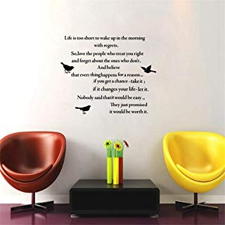Guduis Wall Sticker Removable Vinyl Mural Decal Quotes Art Poem Quotes Life is Too Short. Wall Sticker Inspirational Lettering Words for Home Living/Study Room Decor