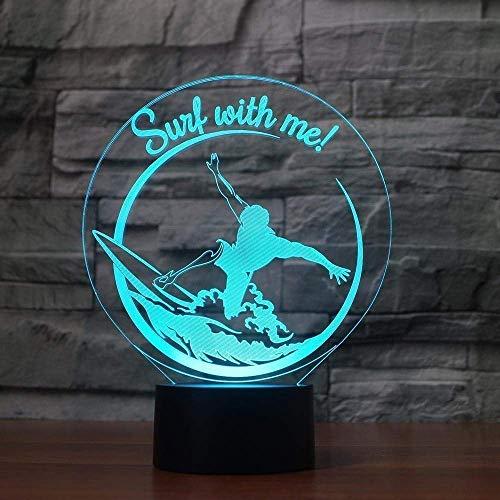 Creativo 3D Surf Luz Nocturna ilusión Optica Lámpara 7 Colores Cambiantes Touch Switch USB Power Juguetes Decoración Navidad Cumpleaños Regalo