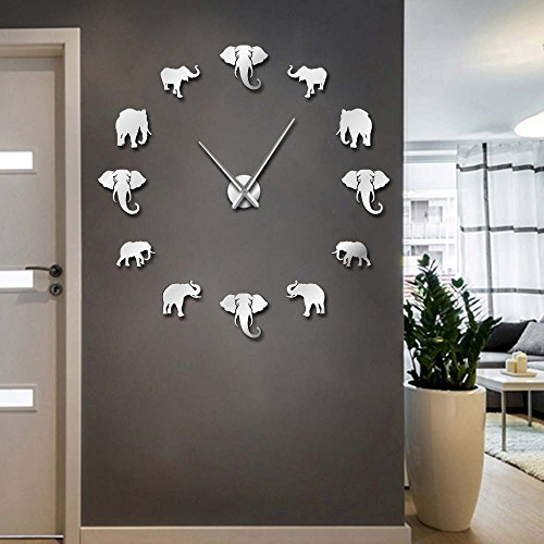 The Geeky Days Jungle Animals Elephant DIY Large Wall Clock Home Decor -