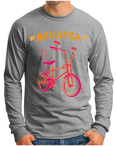 OM3® - Bonanza-I - Langarm T-Shirt | Herren | Vintage Kult Fahrrad 50 Jahre Jubiläum Bicycle | Grau Meliert, XL