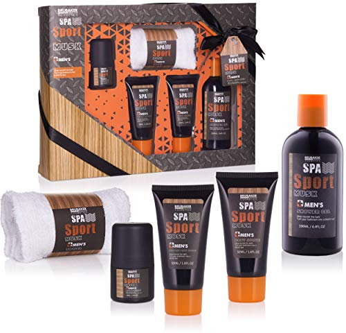 BRUBAKER Cosmetics Spa Sport Musk 5 tlg. Pflegeset für Männer mit Duschgel, Deo, Body Lotion + Waschlappen in Geschenkverpackung