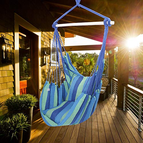 ONCLOUD Hanging Rope Hammock Chair Swing Seat for Yard, Bedroom, Patio, Porch, Any Indoor or Outdoor - 2 Seat Cushions Included (Blue)
