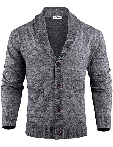 iClosam Jersey De Punto Su/éTer para Hombre Elegant B/áSico con Bot/óN con Cuello En V Sueter Cuello Alto Hombre