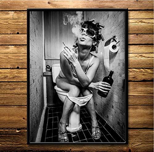 danyangshop Bar Moderno Chica Salvaje Fumando Y Bebiendo En El Baño Mujer Sexy Lienzo Pintura Arte De La Pared Cuadro Imagen Cartel E Impresión A138 (40X60Cm) Sin Marco