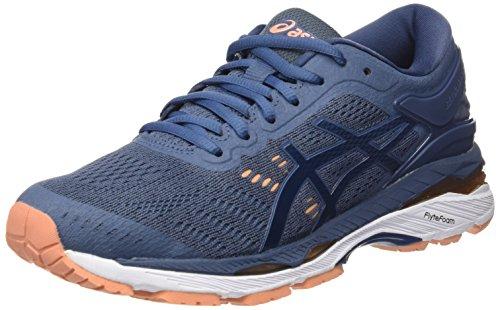 Asics Gel-Kayano 24, Zapatillas de Running para Mujer, Azul (Smoke Blue/Dark Blue/Canteloupe 5649), 38 EU