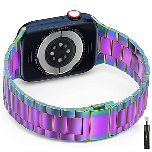 Para apple watch 42 mm 38 mm 44 mm 40 mm correa de acero inoxidable ultrafina para iwatch se / 6/5/4/3/2/1 pulsera adaptadora-herramienta colorida, serie 4 5 44 mm