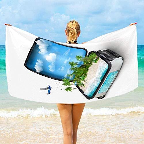 Toalla De Playa Microfibra,Viajando con Maleta Abierta Isla Tropical Palmera Altamente Absorbente Compacto Ligero Y De Secado Rápido Toalla De Playa/Deportivas para Viajes,Gimnasio,Acampar,Nadar,YOG