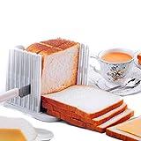 BlastCase Bread Slicer Foldable and Adjustable Bread Toast Slicer Bagel Slicer Loaf Sandwich Bread Slicer Toast Slice Cutter Mold with 4 Slice Thicknesses (white)