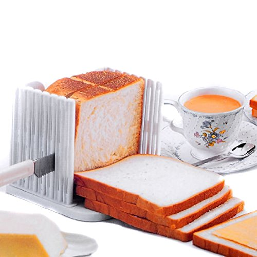 BlastCase Bread Slicer Foldable and Adjustable Bread Toast Slicer Bagel Slicer Loaf Sandwich Bread Slicer Toast Slice Cutter Mold with 4 Slice Thicknesses (white)