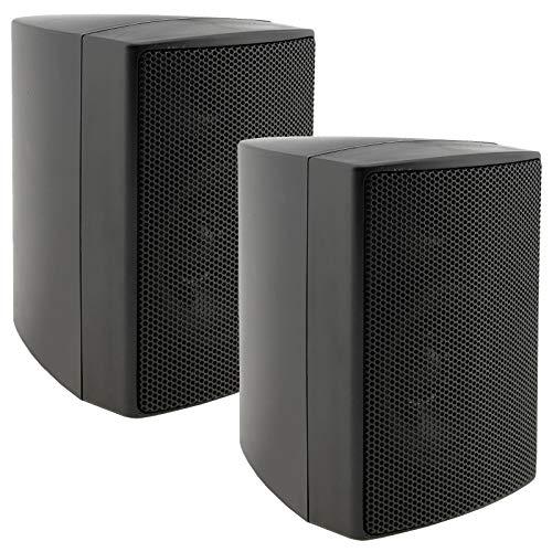 ChiliTec 2-Wege Lautsprecher Schwarz, Paar, Wand-Lautsprecher für HiFi Stereoanlage Heimkino, 40Watt 8Ohm