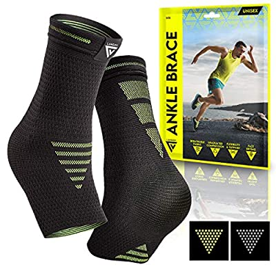 Langov Ankle Brace Support for Men & Women (Pair), Best Compression Sleeve Socks for Your Foot or Sprained Ankle, Helps with Achilles Tendonitis and Injury Recovery, Great for Sports (Yellow, X-Large)