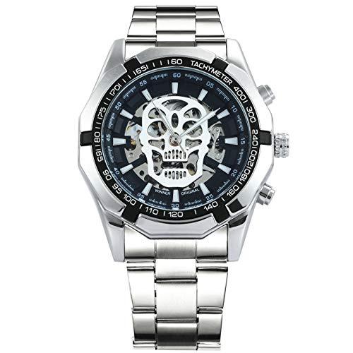 CALUXE mechanische Herren-Armbanduhr im Steampunk-Design, skelettiertes Zifferblatt mit großem leuchtenden Totenkopf, Militärstil, Edelstahl-Armband, mit automatischem Aufzug