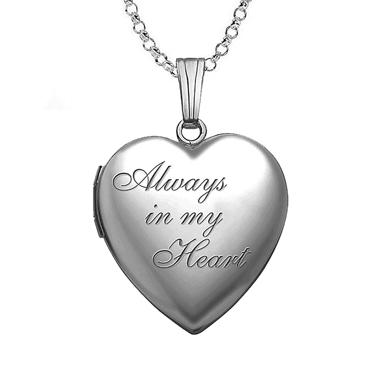 PicturesOnGold.com Always in My Heart Silver Heart Locket Pendant Necklace - 3/4 Inch X 3/4 Inch - Includes Sterling Silver 18 inch Cable Chain.