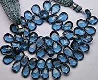 8 Inch Strand,Super Finest Quality,London Blue Quartz Faceted Pear Shape Briolettes,Size 8x12mm