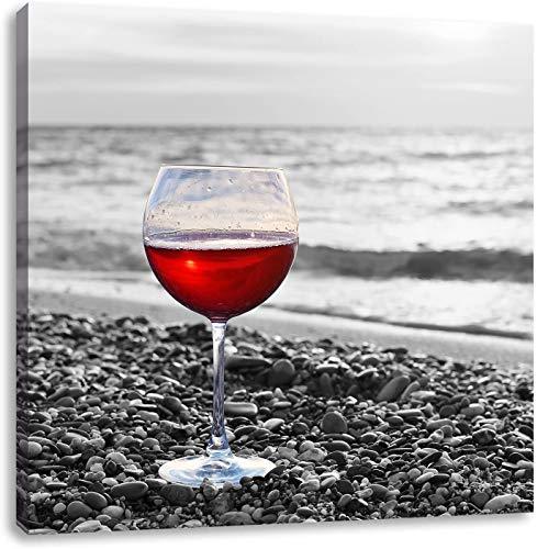 BSLIAO wijnglasschilderij op zee, afbeeldingen met hoge resolutie versieren het canvas, kunstdruk op wandafbeeldingen, wijnglas-affiche aan zee 46x31cm (Pas de Cadre)