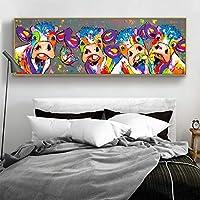 抽象的な牛の帆布の絵画壁アートポスターとプリント壁の装飾的な写真リビングルームの家の装飾の絵画-60x180cmフレームなし