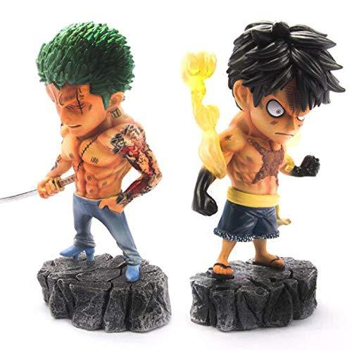 CXNY Anime One Piece Tattoos AFFE D Ruffy Roronoa Zoro PVC Actionfigur Sammler Modell Puppenspielzeug 15cm-2 Stück/Set
