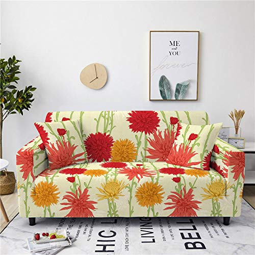 Universal Sofa Cover Spandex Stretch Couch Slipcover chrysanthemum Pattern Tight Fitted Armchair Loveseat Settee Cover 1/2/3/4 Seater Sofa Protector,1,seat 90,140cm