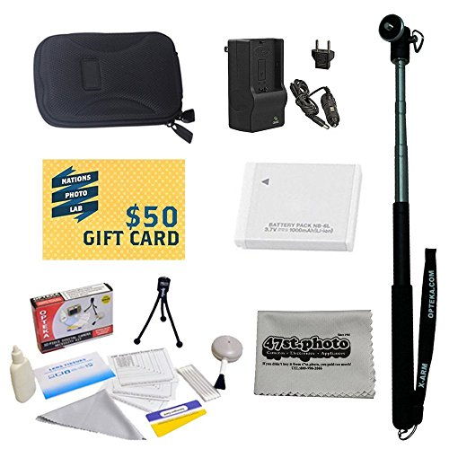 47th Street Photo Best Value Point & Shoot Accessory Starter Kit for Canon PowerShot SX600 Digital Camera Includes Extended Replacement NB-6L Battery + Rapid AC/DC Travel Charger + Self Portrait Monopod + Mini tripod + Slim Hard Case + Screen Protectors Photo Print ! Deluxe Cleaning Kit + More