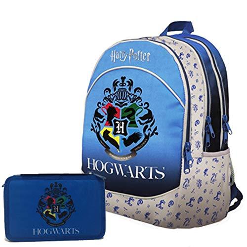 Schoolpack - Mochila escolar organizada con 3 cremalleras y estuche con 3 cremalleras