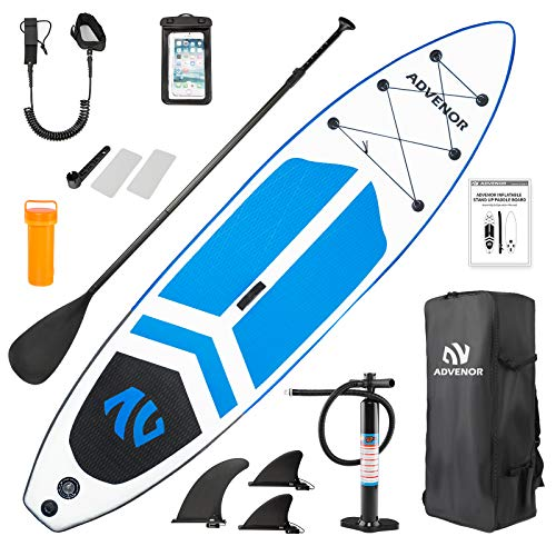 ADVENOR Paddle Board 11'x33 x6 Extra Wide Inflatable Stand Up Paddle Board with SUP Accessories Including Adjustable Paddle,Backpack,Waterproof Bag,Leash,and Hand Pump,Repair Kit (Blue)