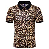 Mens Leopard Print Fashion Short Sleeve Large Size Casual Polo Shirt Tops Yellow