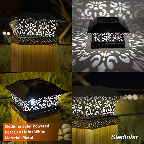 Siedinlar Solar Post Lights Outdoor Deck Fence Cap Light Solar Powered Metal White LED Lighting Waterproof for Patio Garden Decoration 4x4 5x5 Wooden Posts Brown (2 Pack)