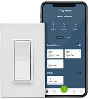 Leviton DW15S-1BZ Decora Smart Wi-Fi 15A Universal LED/Incandescent Switch, Works with Amazon Alexa, No Hub Required, 1-Pa...