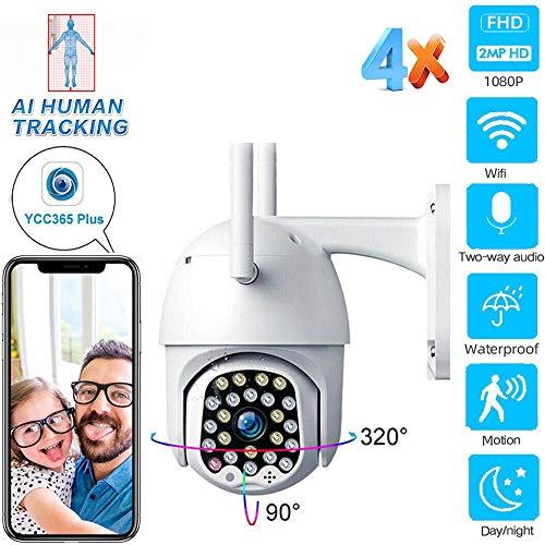 Telecamera di rete PTZ wireless 1080P HD Telecamera a cupola ad alta velocità con zoom digitale 4 volte Telecamera di sorveglianza CCTV audio WIFI P2P esterna resistente alle intemperie 1080P64GB