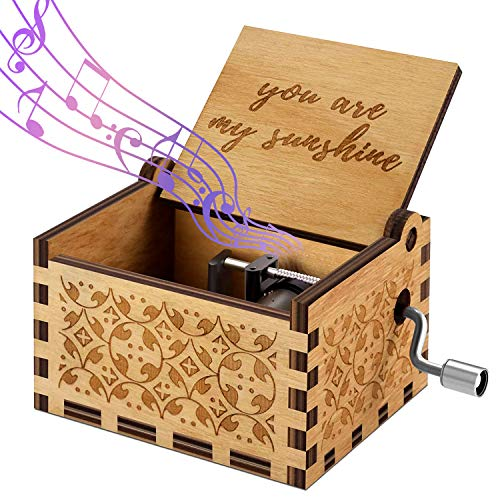 Funmo Hand-hölzerne Spieluhr, Gravur aus Holz Dekorative Box Reine Hand- You Are My suinshine Klassischen Musik-Box Hand-hölzerne Spieluhr Kreative Holz Handwerk