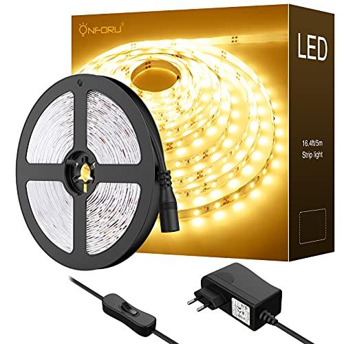 Onforu LED Strip Warmweiss, 5M 3000K Warmweiß LED Streifen, 300er LEDs Band mit Schalter, Selbstklebend 2835 Lichtband, 12V Leuchtband mit Netzteil, DIY Klebestreifen für Küche, Party, Zimmer, Deko