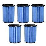 FLAMEER Filtros de Aspiradora Lavables y Reutilizables para Ridgid VF5000-5pcs