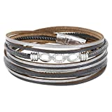 StarAppeal Armband Wickelarmband in Leder mit Schmuck, Strass und Magnetverschluss Silber, Damen Armband (Grau-Silber)