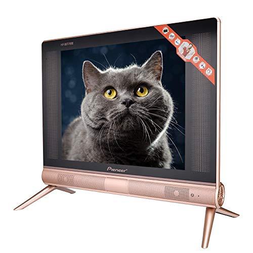 Garsent Televisor LCD de 17 Pulgadas, Televisor portátil de Alta definición de 1366x768 Sonido estéreo, HDMI, USB, VGA, TV/AV Smart TV para el hogar y la Oficina(UE)