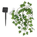 2pc Guirnalda de hiedra artificial de 32.8 pies, guirnalda colgante de vid de plantas falsas con 100 luces LED, bombilla de decoración de vid de hadas, cadenas de iluminación decorativas para patio