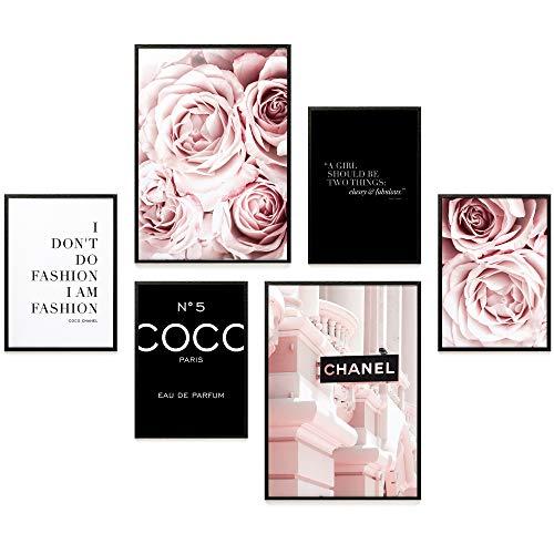 Heimlich® Premium Poster Set | Stilvolles Set mit passenden Bilder als Wohnzimmer Deko | 2 x DIN A3 & 4 x DIN A4 - ca. 30x40 & 20x30 | ohne Bilderrahmen » Coco Schwarz «