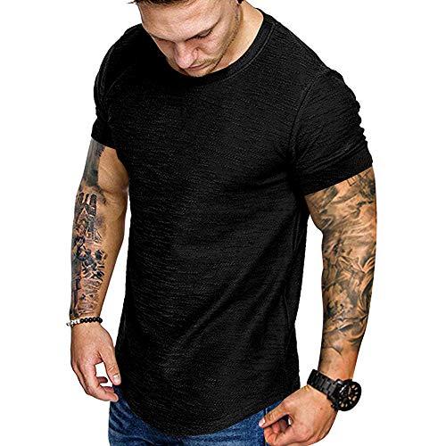 Fashion Mens T Shirt Muscle Gym Workout Athletic Shirt Cotton Tee Shirt Top Black