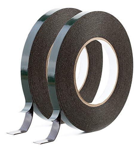 Sanojtape Doppelseitiges Klebeband Extra Stark (2-Pack) Schwarz Schaumstoff Montage Klebeband 9mm x 10m
