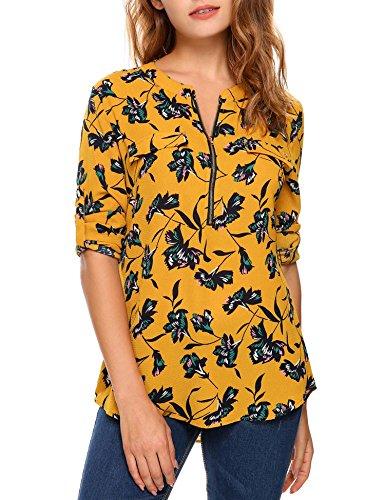 Beyove Damen Vintage Sommer Blumen Bluse Lose T-Shirt Strand Tunika Casual Chiffon Bluse Tops Rundhals,EU 40(Herstellergröße: M),Gelb