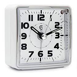 JCC Mini Travel Analog Alarm Clock, Non-Ticking-Battery Operated, Quartz Clock with 5 min Snooze- Loud Ascending Sound- Alarm Clocks with Night Light for Traveling, Backpacking (White - Square Dial)