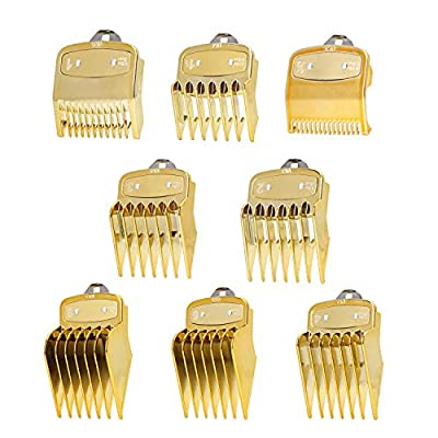 8 Pack Golden Cutting Guides Combs 1/16? to 1? ? Fits All Full Size Wahl Clippers/Trimmer Great for Barbers and Stylists - Ensures Smoother, Safer Cutting Experience from ADUSA