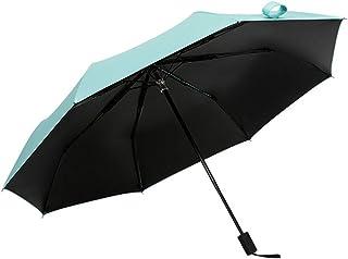 Folding Umbrella Small Fresh Solid Color Black Plastic Folding Umbrella Sunscreen Rain and Rain Dual-Use Three-Fold Umbrella