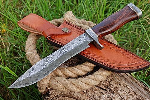 TMBrands Custom Handmade Knife - Damascus Steel Bowie Knife - Hunting Knives, Survival Knife & Camping Knife with Rose Wood Handle & Damascus Guard with Leather Knife Sheath & Belt Loop
