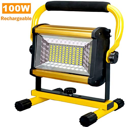 Rechargeable Portable Aluminium Alloy Led Work Light 100W,6000LM IP65 Waterproof Flood Construction Light Adjustable Angle Working Lights For Jetty, Workshop, Garage