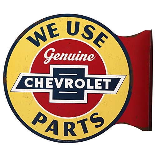Open Road Brands Chevrolet Genuine Parts Flanged Wall Sign - an Officially Licensed Product, Great Addition to Add What You Love to Your Home/Garage Decor