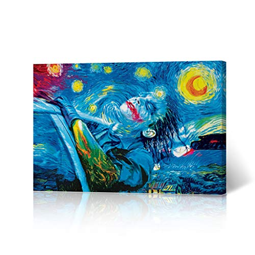 HB Art Design The Joker Oil Painting Van Gogh Starry Night Canvas Wall Art Decorative Home Decor Poster Living Room Dorm Decor- Ready to Hang - Made in The USA - 30x40