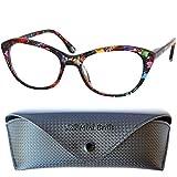 Gafas de Lectura de Ojos de Gato con Grandes Lentes - Funda de Gafas Incluida GRATIS, Montura de Plástico (Flor Roja) Para Leer Mujer +1.5 dioptrías