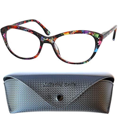 Cateye Blaulichtfilter Lesebrille mit GRATIS Brillenetui, Kunststoff Brillengestell Bunt (Blumen Muster Rot), Anti Blaulicht Brille Damen +2.0 Dioptrien