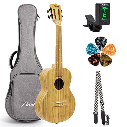 AKLOT Ukulele da concerto in legno massello ukulele professionale da 23 pollici in ukulele di bambù con clip sul sintonizzatore